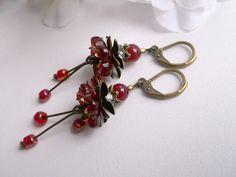 Red glass dangle red glass earringsflower dangle by Jewelry2Heart