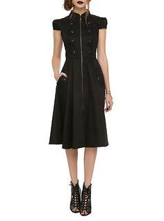 Black Zipper & Button Dress | Hot Topic