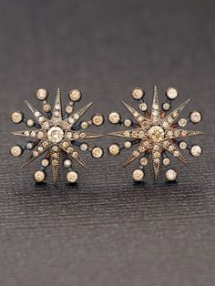 Colette 18k Champagne Diamond Star Earrings.