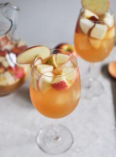 Apple Cider Sangria...pinot grigio,  fresh apple cider,  club soda,  ginger or regular brandy,   honey crisp apples, pears..