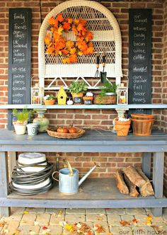Our Fifth House - Fall Potting Bench  - Thanksgiving List