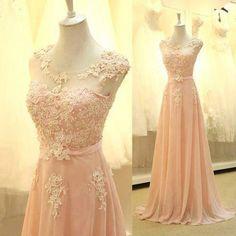Entdecke lässige und festliche Kleider: Elegant Rosa Lang Chiffon Applikation Prom Kleid made by Einfachkleider via DaWanda.com