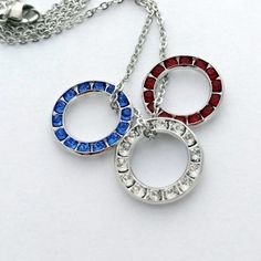 Red White Blue Patriotic Crystal Charm Necklace by Bling Chicks #America #4thofJuly #USA