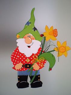 Window picture garden gnome with flowers spring kitchen decoration - Tonkarton! Diy And Crafts, Crafts For Kids, Paper Crafts, 3d Cards, Autumn Art, Butterfly Art, Reno, Preschool Crafts, Classroom Decor