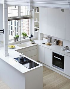 Small Kitchen Designs Inspiring Small Modern Kitchen Design Ideas 17 - There are so many people that like ultra-modern things and as such want a kitchen that fits in with this […] Small Modern Kitchens, Small Space Kitchen, Cool Kitchens, Kitchen Modern, Modern Small Kitchen Design, Modern Small House Design, Kitchen Industrial, All White Kitchen, Eclectic Kitchen