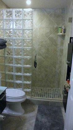 glass blocks for shower wall? Bathroom Design Small, Bathroom Layout, Bathroom Interior Design, Bathroom Ideas, Shower Ideas, Tile Layout, Bathroom Colors, Bath Ideas, Bathroom Organization