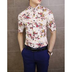 $15.87 Stylish Shirt Collar Floral Print Half Sleeves Polyester Shirt For Men