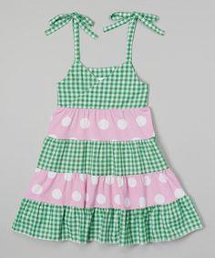 Green Gingham Tiered Princess Dress - Girls by Corky's Kids #zulily #zulilyfinds
