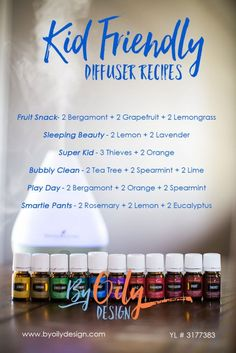 Kid tested and approved, check out these fun Essential Oil diffuser blends for Kids. 6 blends created with essential oils diffuser safe for babies. blends created for use in a diffuser for kids room. YL # 3177383 www.byoilydesign.com