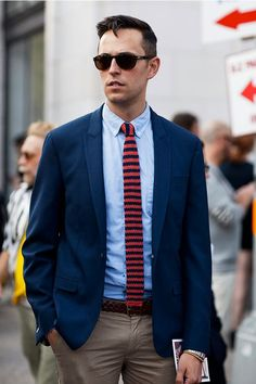 Navy/red repp knit tie - with braided belt