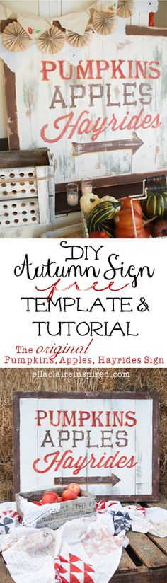 Homemade chalk paint recipe, with paining and distressing tutorial DIY Autumn Sign Free Template and Tutorial!