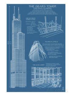 Chrysler building blueprint drafting pinterest chrysler sears tower blue print chicago il c2009 malvernweather Gallery