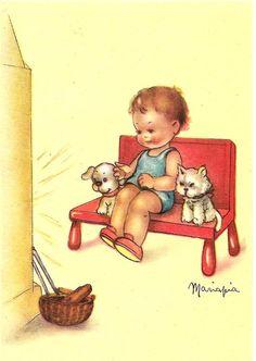 Bambino con cane e gatto davanti al camino ( 7 )........illustratore MARIAPIA. | eBay