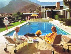Poolside at the Kaufmann House Photo by Slim Aarons circa 1970 I am in love with this mid-century modern lifestyle. - found on the decorator: Palm Springs On My Mind. Slim Aarons, Richard Neutra, Desert House, Bauhaus, Summer Decoration, Mid-century Modern, Pool Umbrellas, Memorial Day Sales, Palm Springs Style