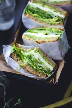 Green Goddess Sandwiches. Avocado, mozzarella, tomato, cucumber, pickled onion, sprouts, and lettuce with green goddess mayo.