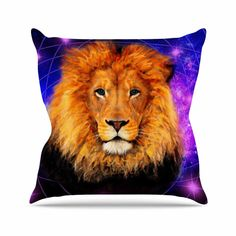 "NL Designs ""Space Lion"" Purple Orange Outdoor Throw Pillow"
