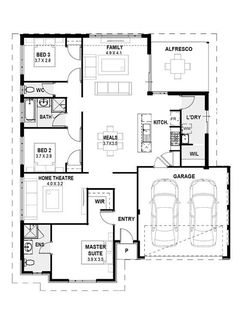My Kingston: Wide Lot Home Designs Perth House Design Plan Single Storey Town House Plans, House Layout Plans, Best House Plans, House Layouts, Custom Home Designs, Custom Homes, Custom Design, Design Your Home, Home Design Plans