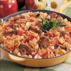 Bavarian Bratwurst Supper Sausage Recipes, Pork Recipes, Cooking Recipes, Bratwurst Recipes Skillet, Supper Recipes, Great Recipes, Favorite Recipes, Fall Recipes, Pizza