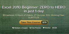 Coupon Code for a FREE Online course on Microsoft Excel 2010 {$79 Value}