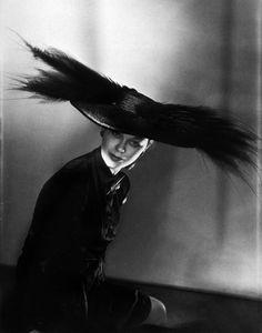 Horst P. Horst - Lud modeling a Schiaparelli hat. Paris, 1946. S)