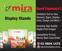 Mira Displays offers display stands, exhibition display stands, menu stands, X banner, roll up stands at wholesale price. We provide a best discount on volume orders. Portable Display stands are best for advertising. http://www.miradisplays.com.au/display-stands/