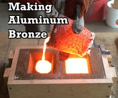 Making Aluminum Bronze: Melting Copper and Aluminum : 4 Steps (with Pictures) - Instructables Copper Casting, Casting Aluminum, Copper Art, Sand Casting, Metal Projects, Welding Projects, Metal Crafts, Mini Forge, Tool Box Diy