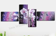 Purple, blue, pink black flowers, beautiful 4 piece canvas painting ... from Google Images