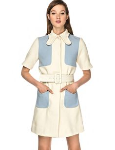 Pixie Market To Be Adored Sassa Coat Dress in White (blue)