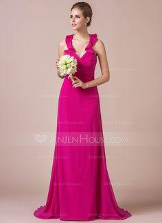 Trumpet/Mermaid Halter Sweep Train Chiffon Charmeuse Bridesmaid Dress With Bow(s) Cascading Ruffles (007056824) - JenJenHouse