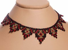 Traditional Ukrainian Folk Handmade Beaded NECKLACE Gerdan: Black /Red /Gold
