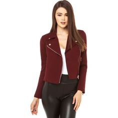 Six Crisp Days Ponte Moto Jacket in Wine found on Polyvore featuring polyvore, women's fashion, clothing, outerwear, jackets, wine, cropped motorcycle jacket, double breasted jacket, red jacket and red biker jacket