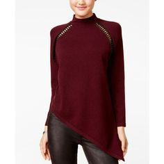 Xoxo Juniors' Asymmetrical Faux-Leather-Trim Sweater ($59) ❤ liked on Polyvore featuring tops, sweaters, burgundy, xoxo tops, red top, burgundy sweater, asymmetrical sweater and red sweater