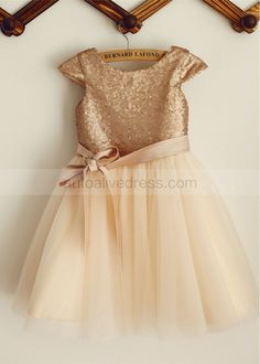 Champagne Sequin Tulle Knee Length Flower Girl Dress