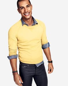 Yellow tee over lightweight denim shirt.