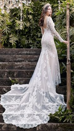 You're a goddess, and therefore deserve a gorgeous scalloped train, customizable sleeve options, and a heavenly silhouette. We present this elegant illusion lace sheath wedding dress for your consideration. Maggie Sottero Wedding Dresses, Fall Wedding Dresses, Colored Wedding Dresses, Bridal Dresses, Wedding Gowns, Bridesmaid Dresses, Boho Wedding, Bridal Looks, Bridal Style