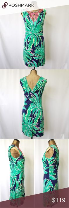 Lilly Pulitzer palm tree shift dress green pink XS Lilly Pulitzer shift dress.   *Embellished top part *palm tree pattern  *blue green pink yellow colors  *great condition   **Please note that I try my hardest to suggest the true coloring of each item I post. Please check photos before purchasing since they are part of my description  1SIMD60 Lilly Pulitzer Dresses Mini