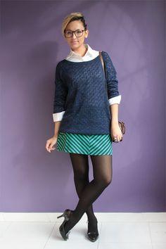 Look do dia: listras, tricô e sapato de coração Blog De repente Tamy   Moda, beleza e look do dia todos os dias!   www.derepentetamy.com