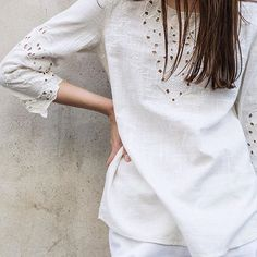 TOP OFF YOUR TOPS – embroidery white shirts have their own personality