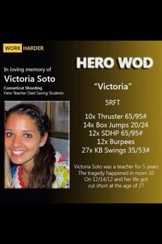 "@CrossFit HERO WOD ""Victoria"" in honor of a teacher from Sandy Hook Elementary who gave her life saving the children in her class room."