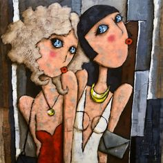 Ludiques, estivales, les demoiselles vous attendent à Honfleur . #peinture bretonne . #deauville  #peinture  #virginiematz  #retro Honfleur, Cool Art, Art Gallery, Photos, Portrait, Handmade, Painting, Character, Color