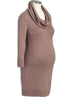 Maternity Cowl-Neck Sweater Dresses L/XL tan or brown