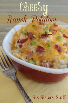 Cheesy Ranch Potatoes on SixSistersStuff.com- one of our most popular posts! cheesi ranch, side dishes, cheesy potatoes, ranch potato, potato recipes, six sisters stuff, ranch dressing, green onions, potato dishes