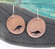 Little Birds copper hand pierced oval earrings by silentgoddess