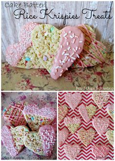Cake Batter Rice Krispies Treats | paintchipsandfros...  Ooey Gooey cake batter marshmallow goodness loaded with sprinkles and cut into cute hearts! #ricekrispies #dessertrecipes  #cakebatter