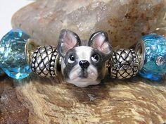 Boston Terrier Pandora Bead Polymer Clay Dog by nanjodogz on Etsy
