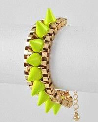 JUST ADDED: NEW INVENTORY @ natashab1980.com and order today #trendy #retro #glam #prom #classic #accesories #neon #yellow #spikes #bracelet