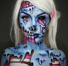 Super cute (kinda) melty cartoon zombie pinup look. Body paints and FX makeup for Halloween and Theatre.