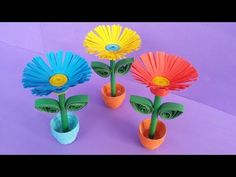 DIY: Quilling Miniature 3D Flower Pot !!! How to Make 3D Flower Pot With Paper !!! - YouTube