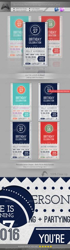 Birthday Retro/Vintage Invitation — Photoshop PSD #holiday #corporate • Available here → https://graphicriver.net/item/birthday-retrovintage-invitation/4590525?ref=pxcr