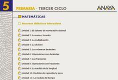Recursos Didácticos Interactivos de la Editorial Anaya correspondientes a 5º Nivel de Educación Primaria, área de Matemáticas. Actividades complementarias en relación con los aprendizajes básicos  del área.